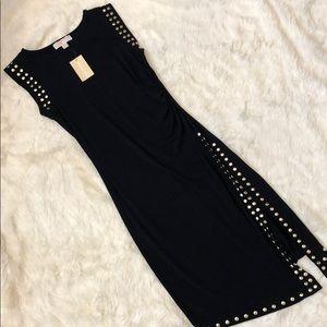 MICHAEL KORS BLACK & GOLD SLIT DRESS